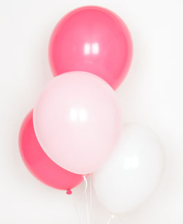 10 Ballons Latex Rose Pastel, Blancs, Fuchsias