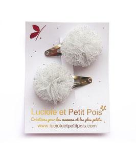 2 mini barrettes clips pompons tulle gris paillettes argent