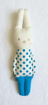 Hochet lapin pois bleu turquoise Alimrose