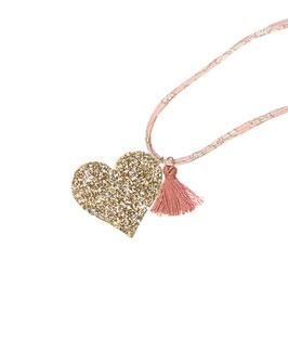 Collier Liberty rose avec coeur pailleté doré et pompon vieux rose