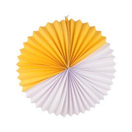 Lampion boule papier bicolore jaune blanc