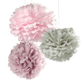 3 pompons en papier de soie pastel rose/gris/violine