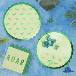 8 Grandes Assiettes Dinosaures Verts