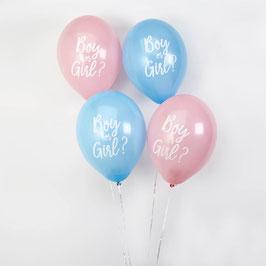 8 ballons boy or Girl bleus et roses