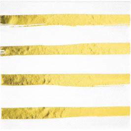 16 serviettes en papier avec rayures irrégulières dorées