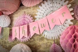 Guirlande Baby shower rose avec paillettes métalliques