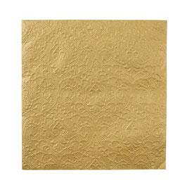 20 serviettes dorées avec dessin dentelle en relief