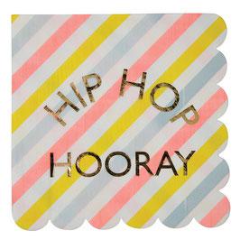 "16 serviettes pastels écriture ""Hip hop hooray"" Meri Meri"