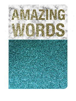 "Carnet pailleté format 12X17.5cms message ""Amazing words"""