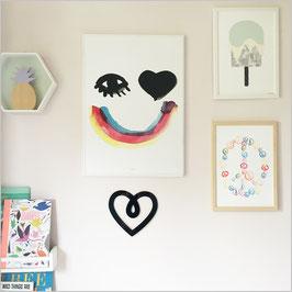 """Décoration murale """"coeur""""noir en acrylique"""