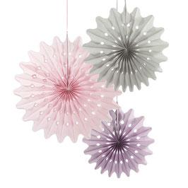3 rosaces en papier de soie pastel rose/gris/violine