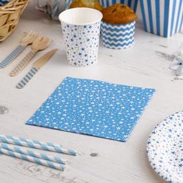 20 serviettes en papier fond bleu turquoise étoiles blanches