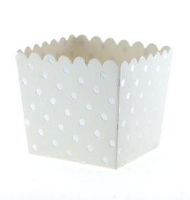 6 Petits pots fond blanc petits pois argents pour bonbons ou friandises
