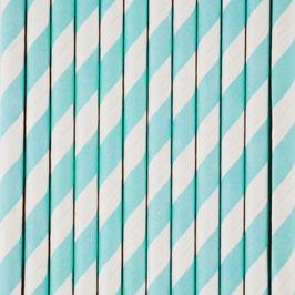 25 pailles en papier coloris bleu pastel et blanc my little day