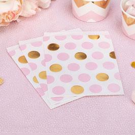 25 sachets en papier avec pois roses et dorés