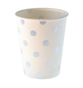 12 gobelets fond blanc pois argent