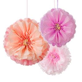 3 Pompons fleurs pastels en papier de soie