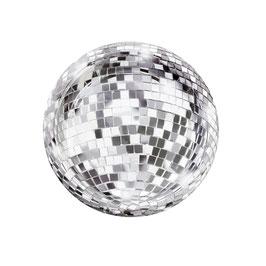 12 Assiettes en carton imprimées boule à facette disco