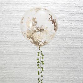 3 ballons transparents géants avec confettis rose gold à l'intérieur