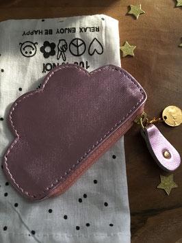 Petit porte monnaie nuage en cuir rose métallique