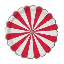 8 grandes assiettes en carton rayures rouge et blanc meri meri
