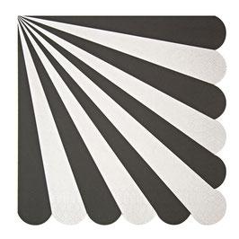 20 grandes serviettes rayures noir et blanc Meri Meri