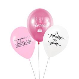 """3 ballons anniversaire """"Princesse du jour"""""""