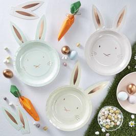 8 assiettes lapins pastels