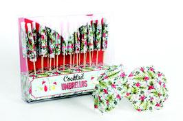 24 piques parasols en papier imprimé tropical pour cocktail