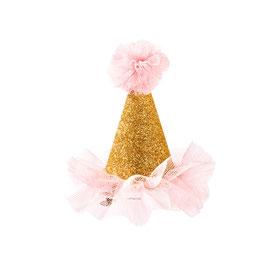 Barrette mini chapeau doré avec tulle rose