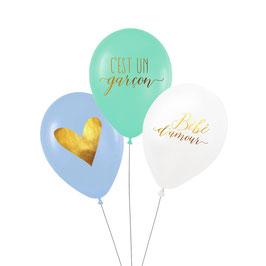 """3 ballons """"C'est un garçon"""" , coeur, bébé d'amour"""