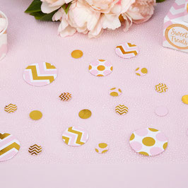 Confettis de table chevrons et pois roses et dorés