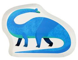 12 assiettes dinosaures Brachiosaure bleu