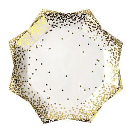 8 grandes assiettes en forme d'étoile avec plumetis dorés Meri Meri