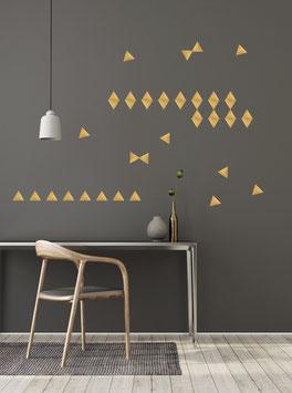 Stickers muraux triangles dorés Pom le bonhomme