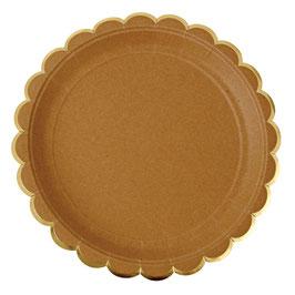 8 grandes assiettes kraft bordure dorée meri meri