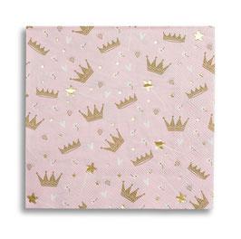16 grandes serviettes rose pastel couronnes mordorées