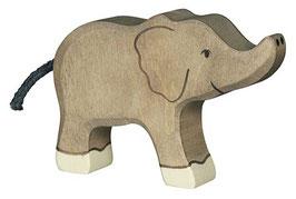 Petit éléphant trompe haute en bois Holztiger