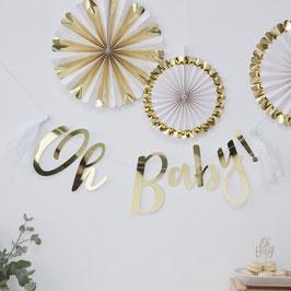 "Guirlande dorée avec écriture ""Oh Baby"" et tassel blanche"