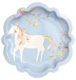 8 Petites assiettes bleu ciel avec licorne Meri Meri
