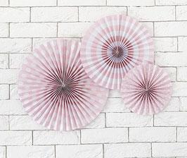 3 rosaces pois et rayures rose pastel et blanc