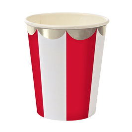 8 gobelets en carton rayures rouge et blanc Meri Meri