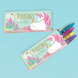12 petites boites licornes avec 4 crayons de couleur