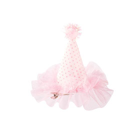 Barrette mini chapeau fond blanc pois rose avec tulle rose