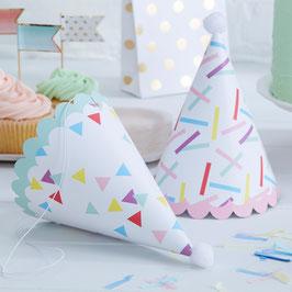 6 Chapeaux en carton motifs plumetis pastels