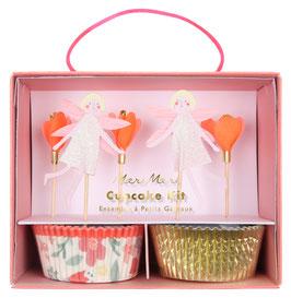 Kit 24 caissettes cupcakes et 24 cake toppers thème fée meri meri