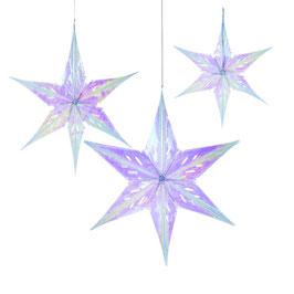 3 étoiles irisées pour décoration fête