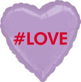 Ballon coeur métallique parme mot Love rouge