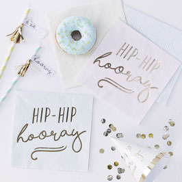 """16 grandes serviettes rayées pastels or écriture dorée """"Hip hip hooray"""""""