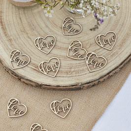 24 confettis coeurs écriture Love en bois